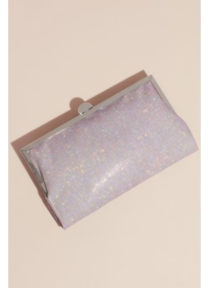 Iridescent Glitter Frame Clutch with Metal Clasp - Add sparkle to your special occasion outfit with