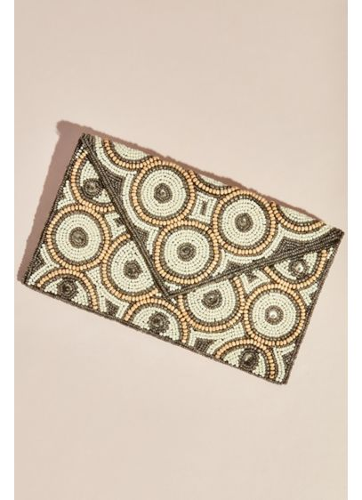 Mod Beaded Circles Envelope Clutch - Wedding Accessories