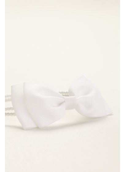 Pearl Flower Girl Headband with Side Bow Motif - Wedding Accessories