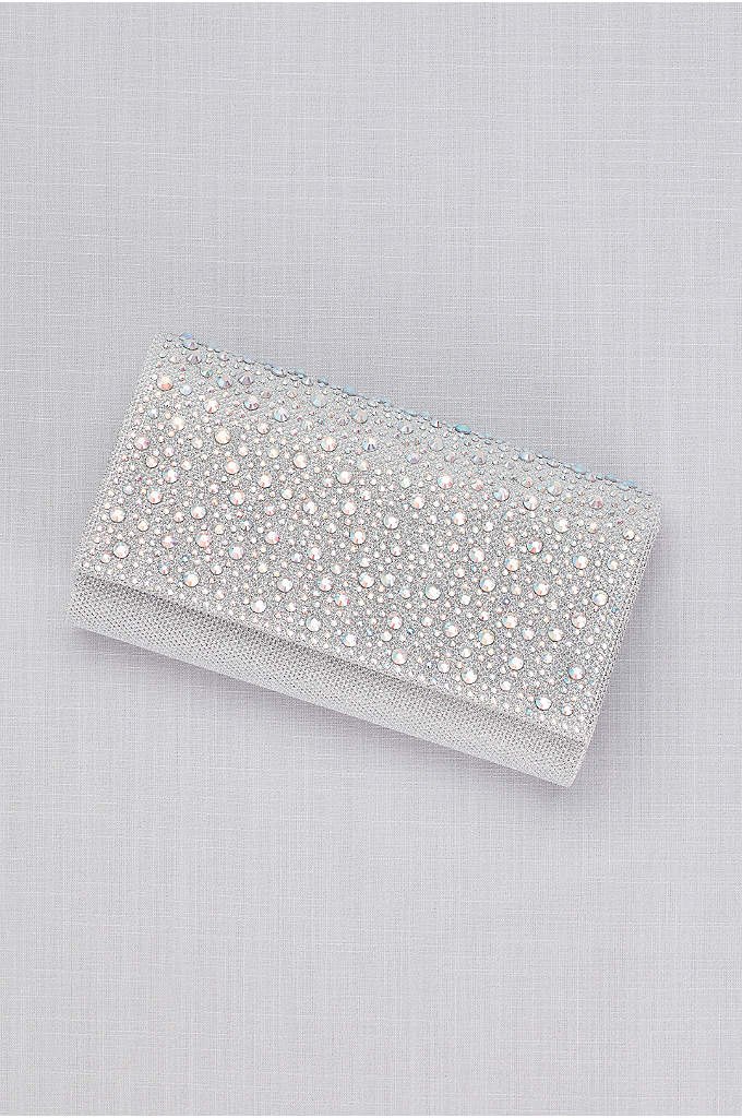 Scattered Crystals Flap Clutch - Iridescent crystals in various sizes lend colorful sparkle