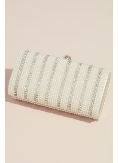 Faux Pearl and Crystal Striped Curved Minaudiere - A chic way to stow your essentials, this