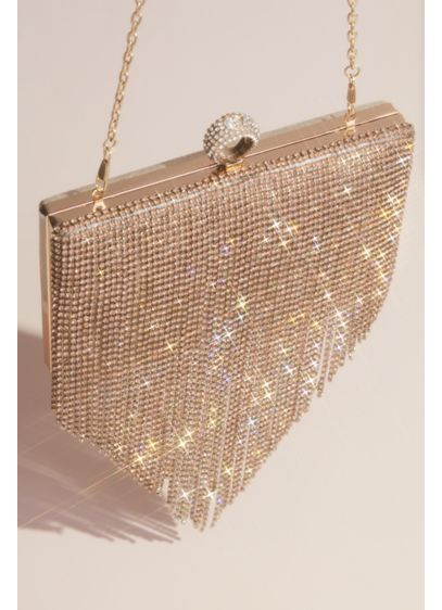 Dangling Crystal Fringe Clutch - Wedding Accessories