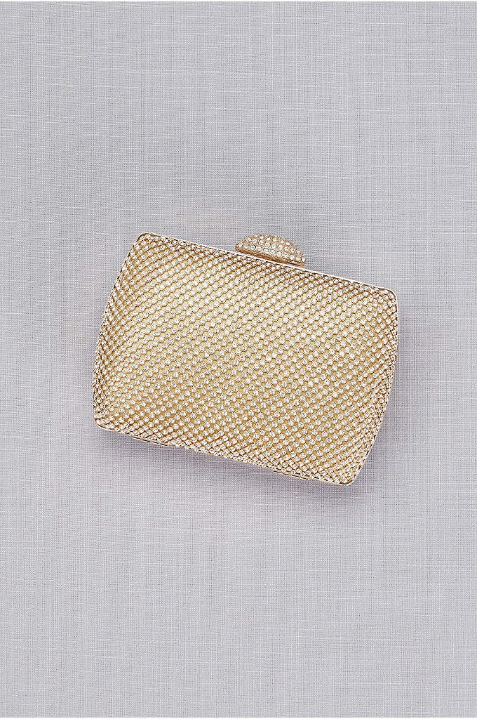 Mesh Stones Box Minaudiere  - This fancy clutch sparkles with hundreds of faceted