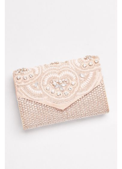 David's Bridal Pink (Embroidered Pearl and Rhinestone Clutch)