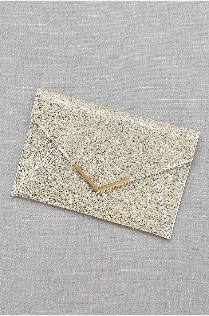Glitter Envelope Clutch - Sparkling with a glittery gold print, this metal-edged