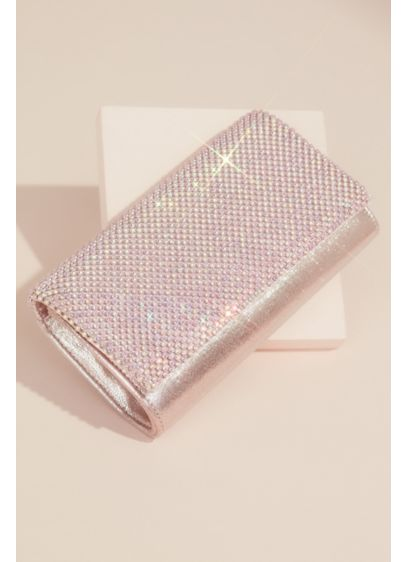 Glitter Clutch Handbag with Crystal Mesh Fold - Add sparkle to any evening look with this