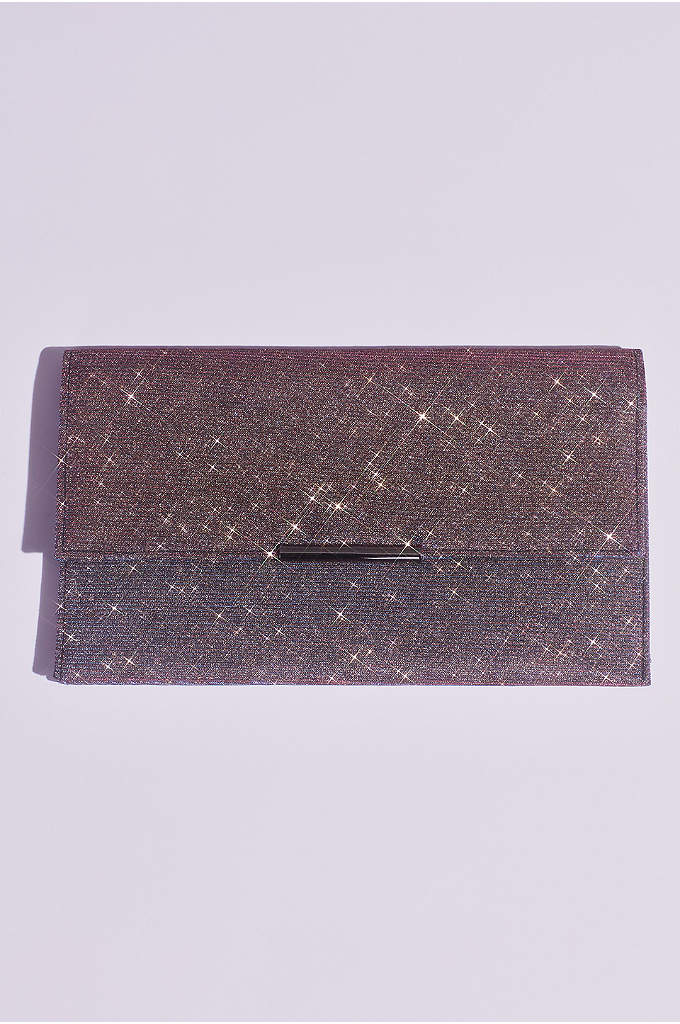 Glittery Fold Over Clutch with Removable Chain