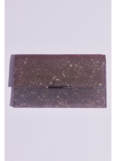David's Bridal Black (Glittery Fold Over Clutch with Removable Chain)