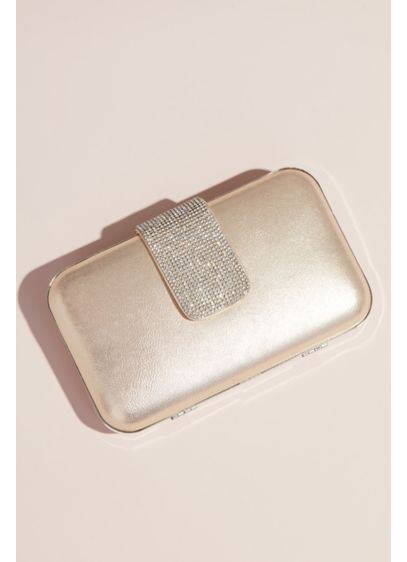Crystal Closure Metallic Minaudiere - Perfect to store the essentials, this elegant metallic