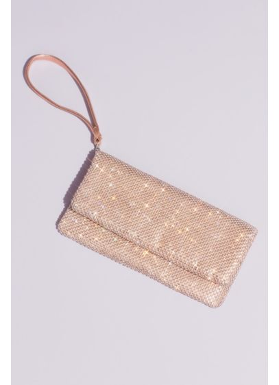 David's Bridal Pink (Metallic Mesh Foldover Wristlet Clutch)