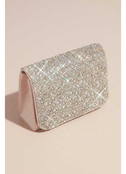 Iridescent Crystal Embellished Crossbody Clutch - Brilliantly sparkling crystals and iridescent stones cover the