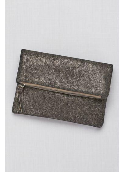 Zip-Top Metallic Foldover Clutch - Wedding Accessories