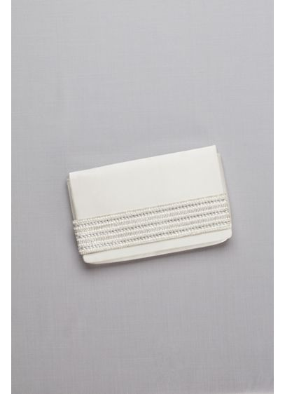 Satin Foldover Clutch with Embellished Strap - Slip your hand beneath this satin clutch's pearl-
