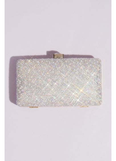 Crystal and Pearl Hinge Clutch with Gem Clasp - Featuring edge-to-edge iridescent crystals and pearls covering the
