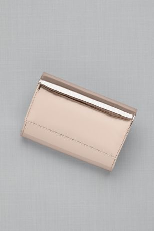 High shine foldover clutch handbag