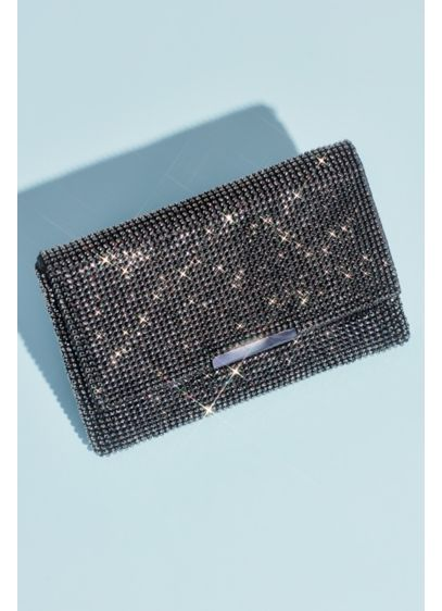 Crystal Studded Mesh Clutch with Foldover - With its cool metal mesh and allover crystal