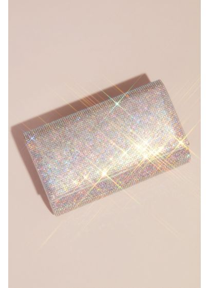 David's Bridal Grey (Iridescent Crystal Folded Clutch with Satin Sides)