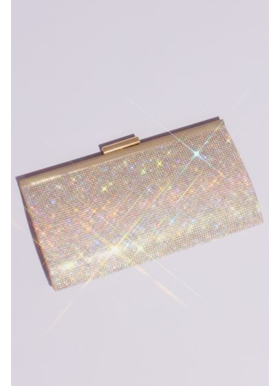 David's Bridal Beige (Iridescent Crystal Glitter Baguette Clutch)