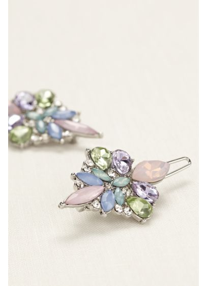 Set of Two Pastel Multi Stone Hair Clips - Wedding Accessories