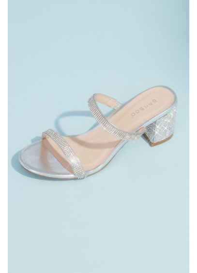 Bamboo Grey (Crystal Embellished Slide Sandals with Block Heel)
