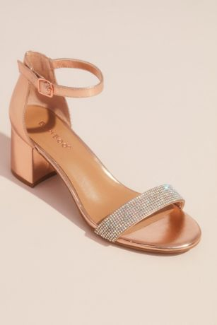 Bamboo Grey;Pink Heeled Sandals (Shiny Metallic Block Heel Sandals with Crystals)