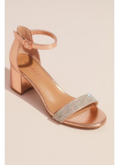 Bamboo Pink (Shiny Metallic Block Heel Sandals with Crystals)