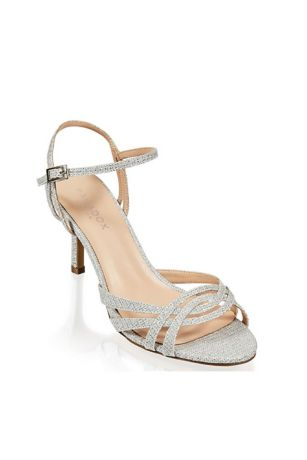 Pink Paradox Grey Heeled Sandals (Metallic Glitter Mesh Strappy Sandals with Heel)