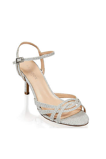 Metallic Glitter Mesh Strappy Sandals with Heel