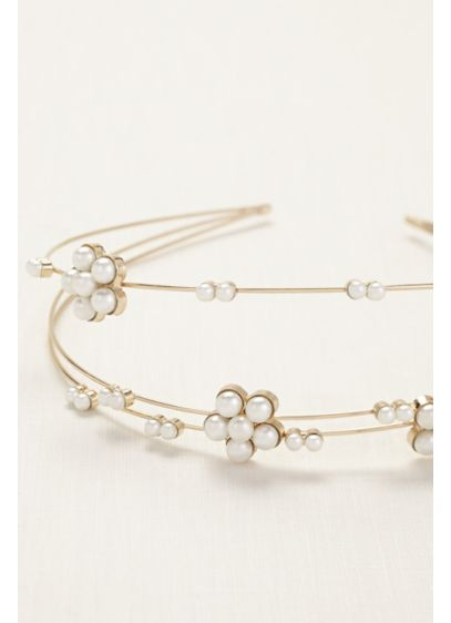 Three Row Floral Pearl Station Headband - Wedding Accessories