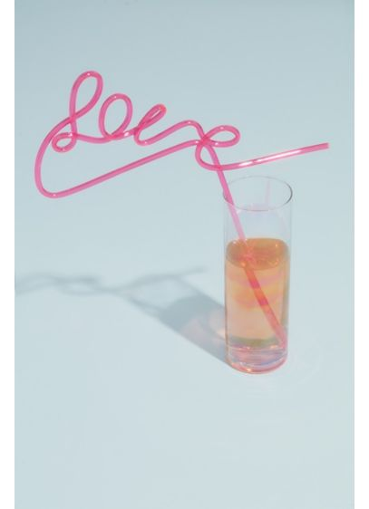 Neon Pink Love Straw - Wedding Gifts & Decorations
