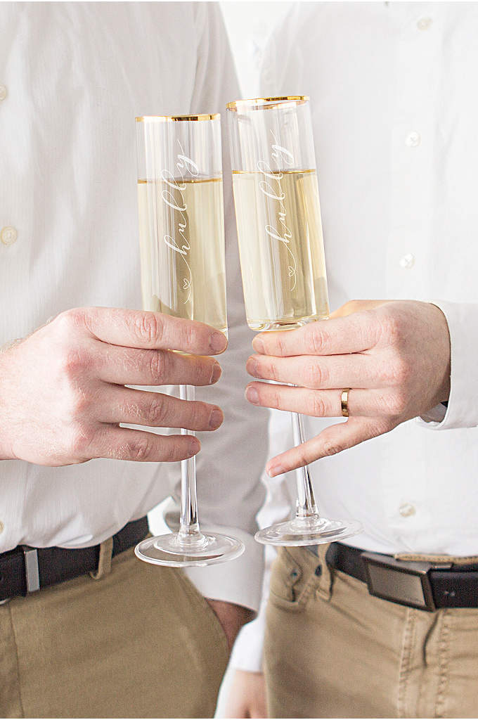 Hubby and Hubby Gold Rim Champagne Flutes - Toast to your newlywed status with the Hubby