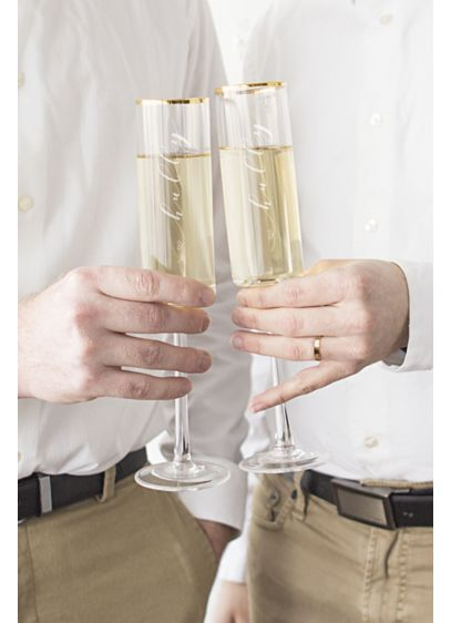 Hubby and Hubby Gold Rim Champagne Flutes - Wedding Gifts & Decorations