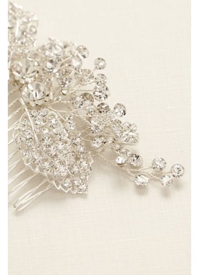 Pave Rhinestone Floral Motif Comb - Wedding Accessories