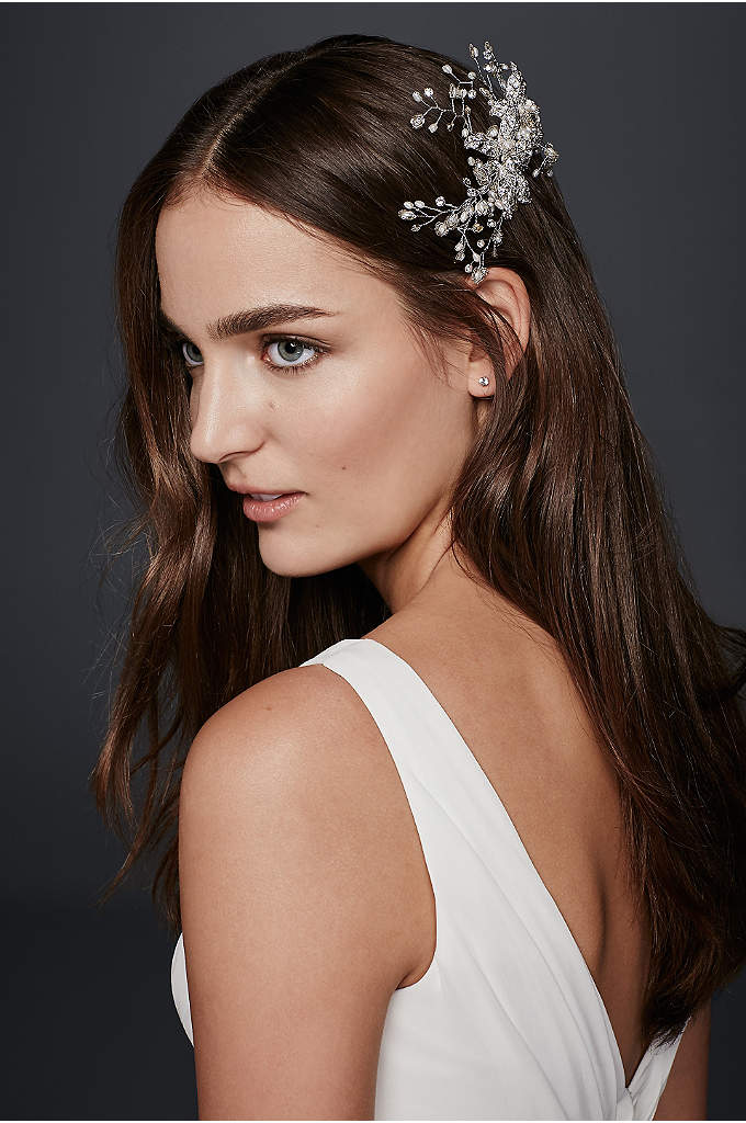 Pave Leaf and Flower Comb - A spray of crystals and petite pearls flourishes