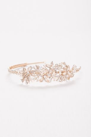 Etched Floral Jeweled Headband David S Bridal