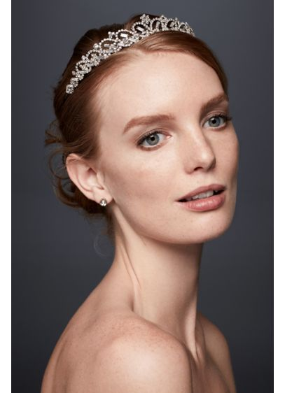 David's Bridal Grey (Scalloped Rhinestone Tiara with Baguettes)