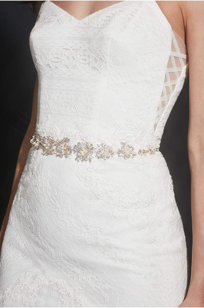 Pearl and Pave Crystal Flower Sash - This intricate pearl and pave crystal sash, on