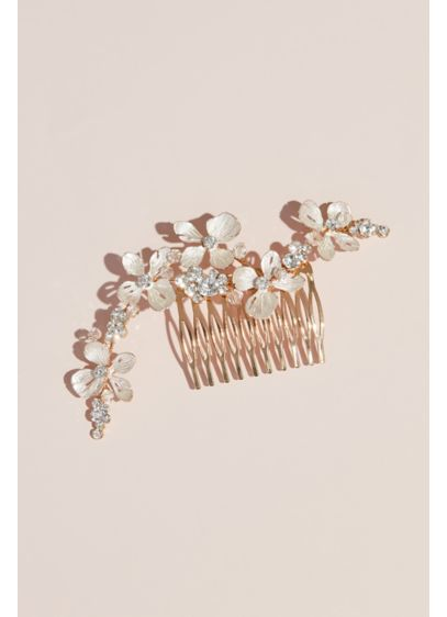 Enameled Dogwood Flowers and Crystal Comb - Wedding Accessories
