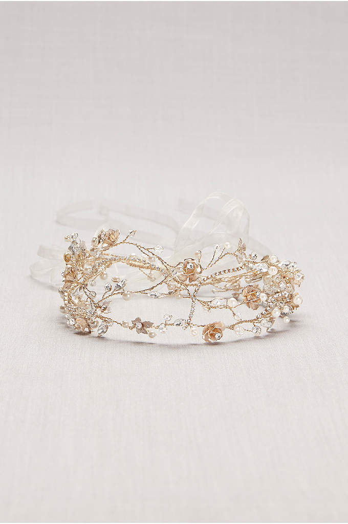 Pearl and Crystal Floral Vines Tie-Back Headband - A poetic mix of pearls, crystals, and beads,