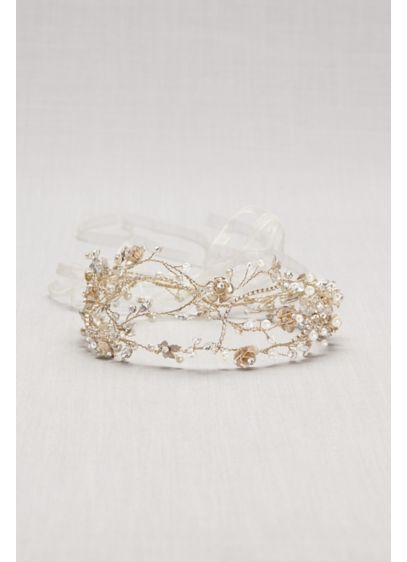 Pearl and Crystal Floral Vines Tie-Back Headband - Wedding Accessories