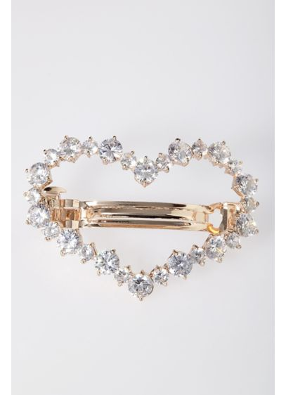 Cubic Zirconia Heart Barrette - Wedding Accessories