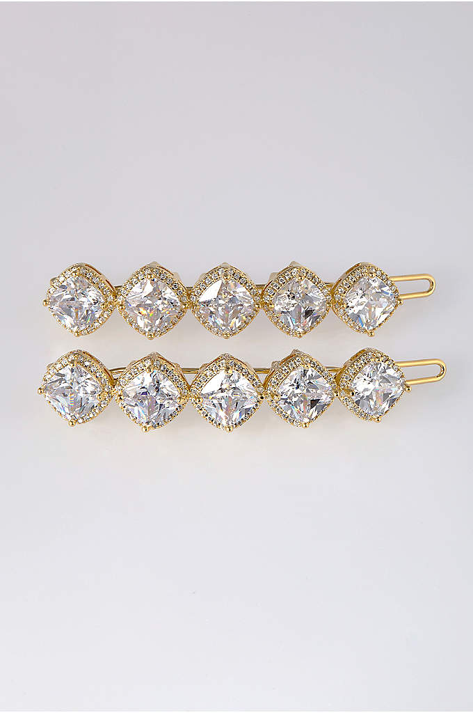 Cushion Cut Cubic Zirconia Hair Clip Set - A row of dazzling cushion-cut cubic zirconias makes