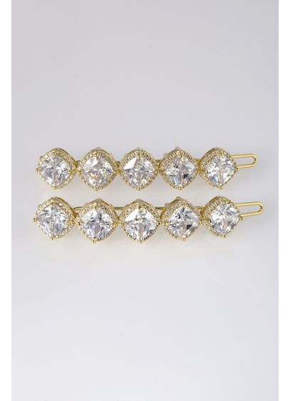 Cushion Cut Cubic Zirconia Hair Clip Set - Wedding Accessories