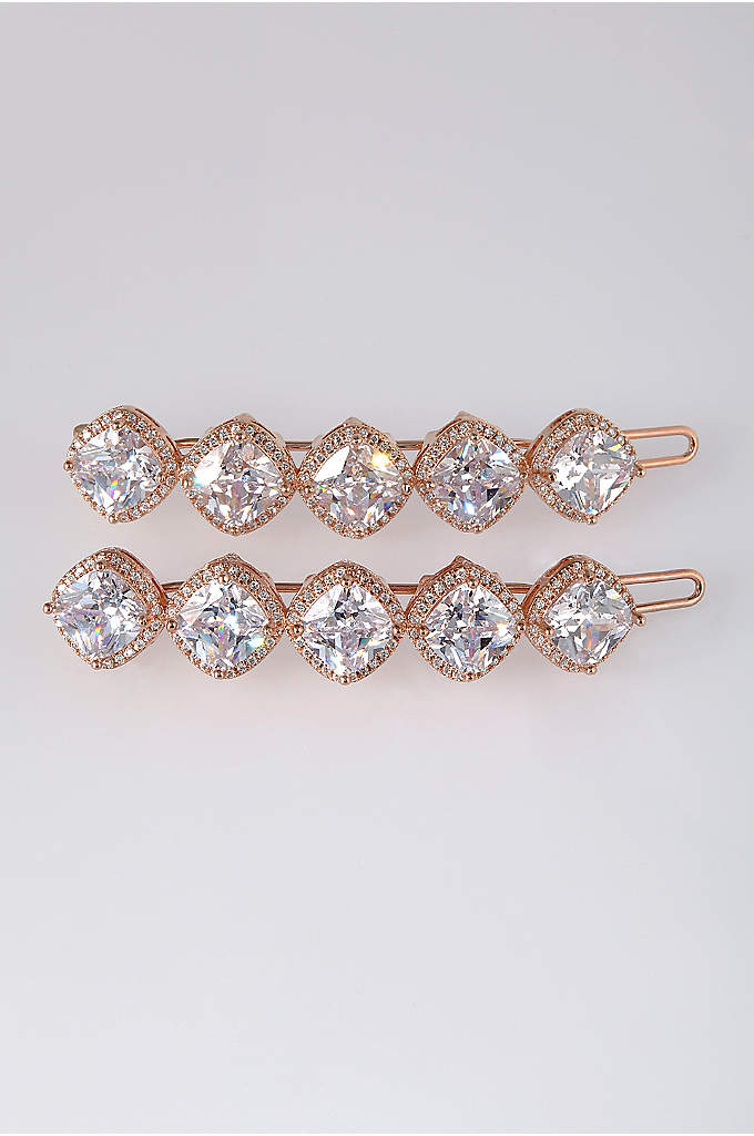 Cushion Cut Cubic Zirconia Hair Clip Set