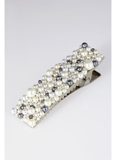 Large Pearl Cluster Barrette - Soft grey and luminous white pearls of different