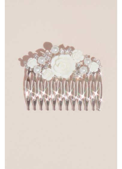 Ceramic Flower, Pearl and Crystal Girls' Comb - Wedding Accessories