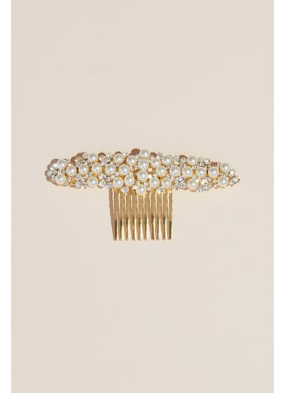 Wide Pearl and Crystal Comb - Wedding Accessories