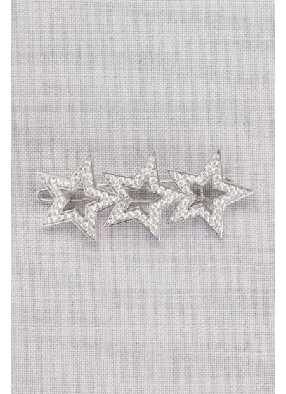 Pave Crystal Triple Stars Barrette - Wedding Accessories