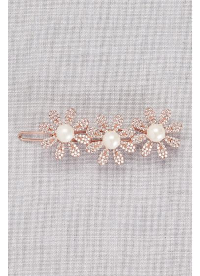 Crystal and Pearl Triple Flower Hair Clip - Pearl-centered crystal flowers add fresh beauty to swept-back