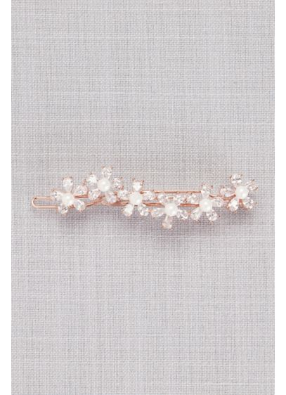 Cubic Zirconia and Pearl Flower Wave Hair Clip - Wedding Accessories